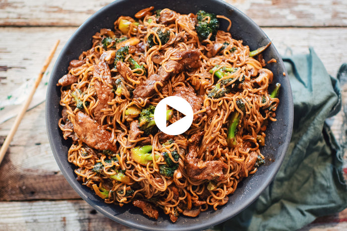 Beef & Broccoli Sautéed Noodles (VIDEO)