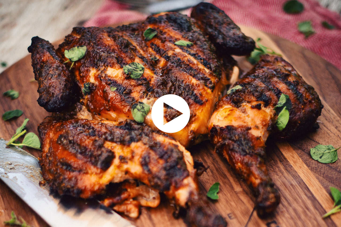 Flattened Chicken with Maple, Mustard and Oregano (VIDEO)