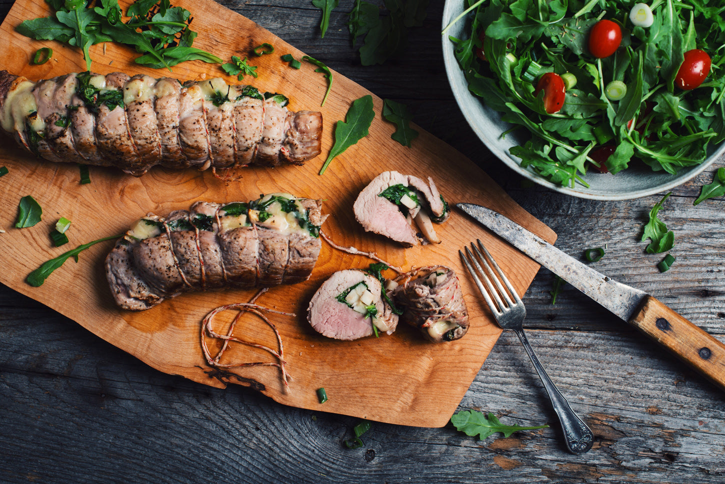 Pork Loins with Apple, Cheddar and Arugula Stuffing
