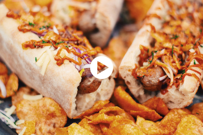 European Hot Dogs with Bacon, Smoked Mayonnaise and Strong Cheddar Cheese (VIDEO)