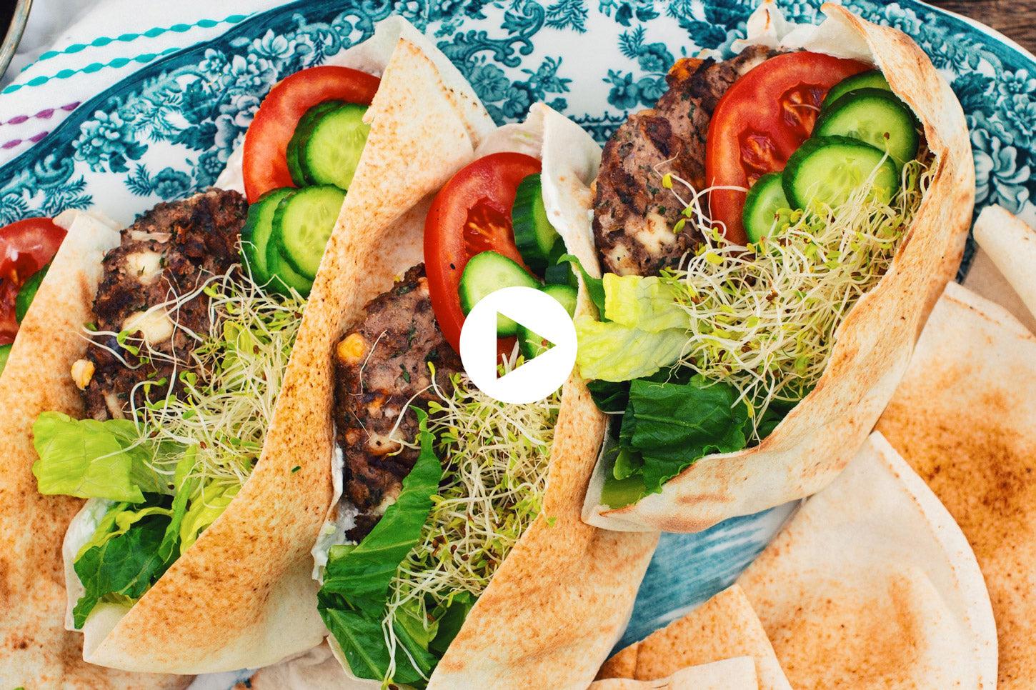 Mediterranean Kefta Lamb Burgers on Grilled Pita (VIDEO)
