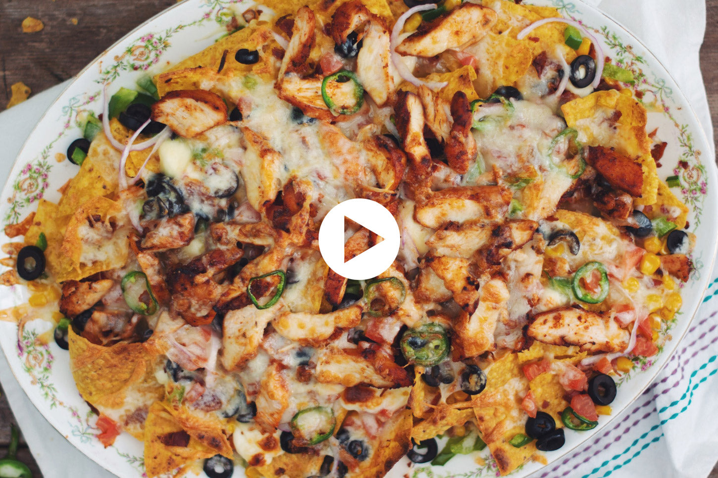 Supreme Nachos with BBQ Chicken (VIDEO)