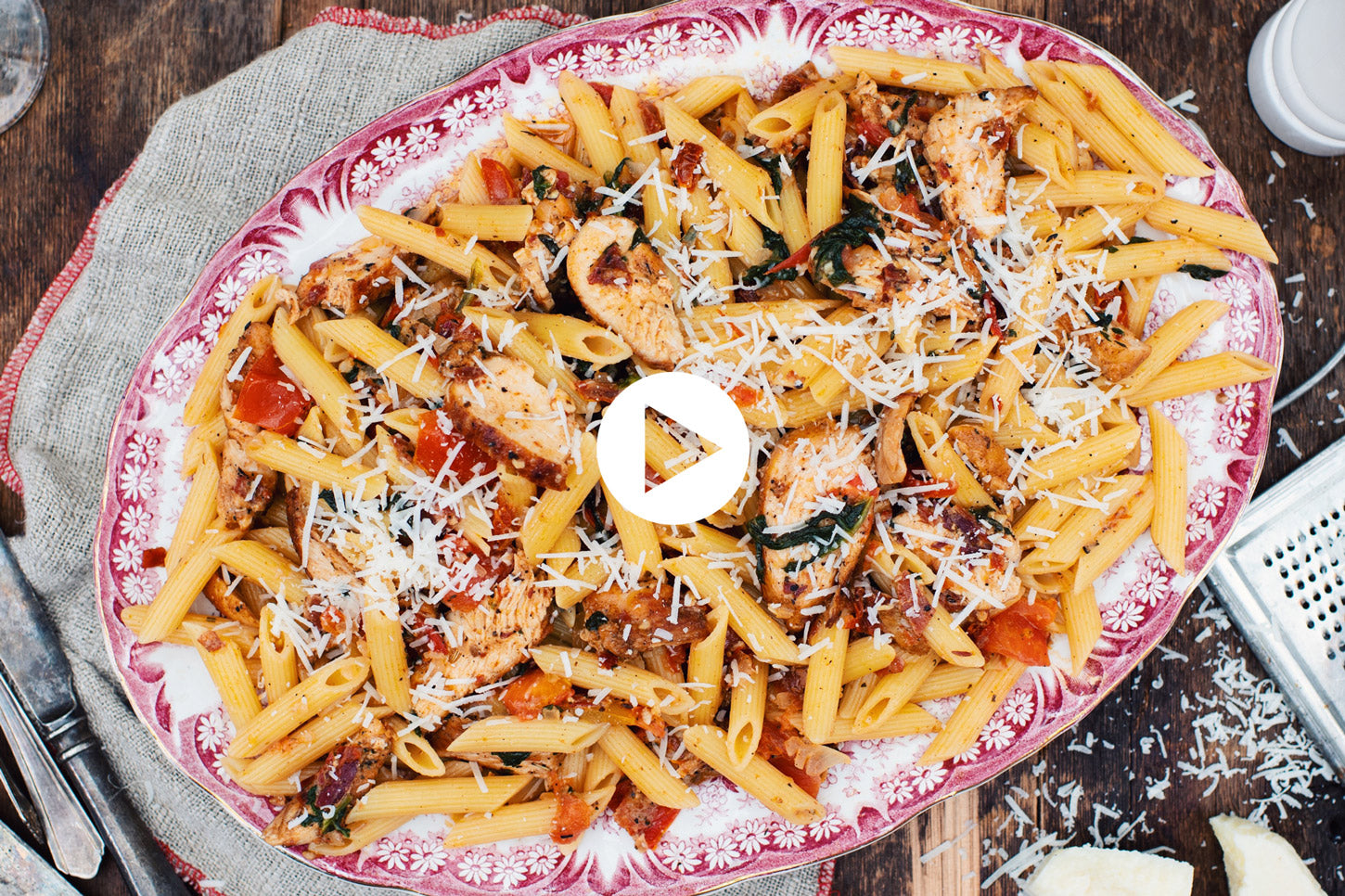 Creamy Penne with Chicken, Spinach and Sun-Dried Tomatoes (VIDEO)