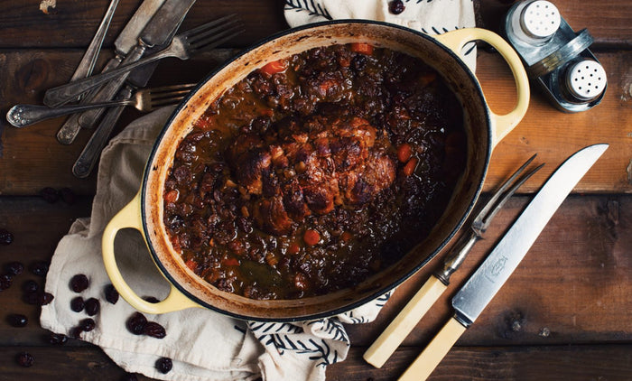 Veal Chuck Roast with Port Wine and Cranberries