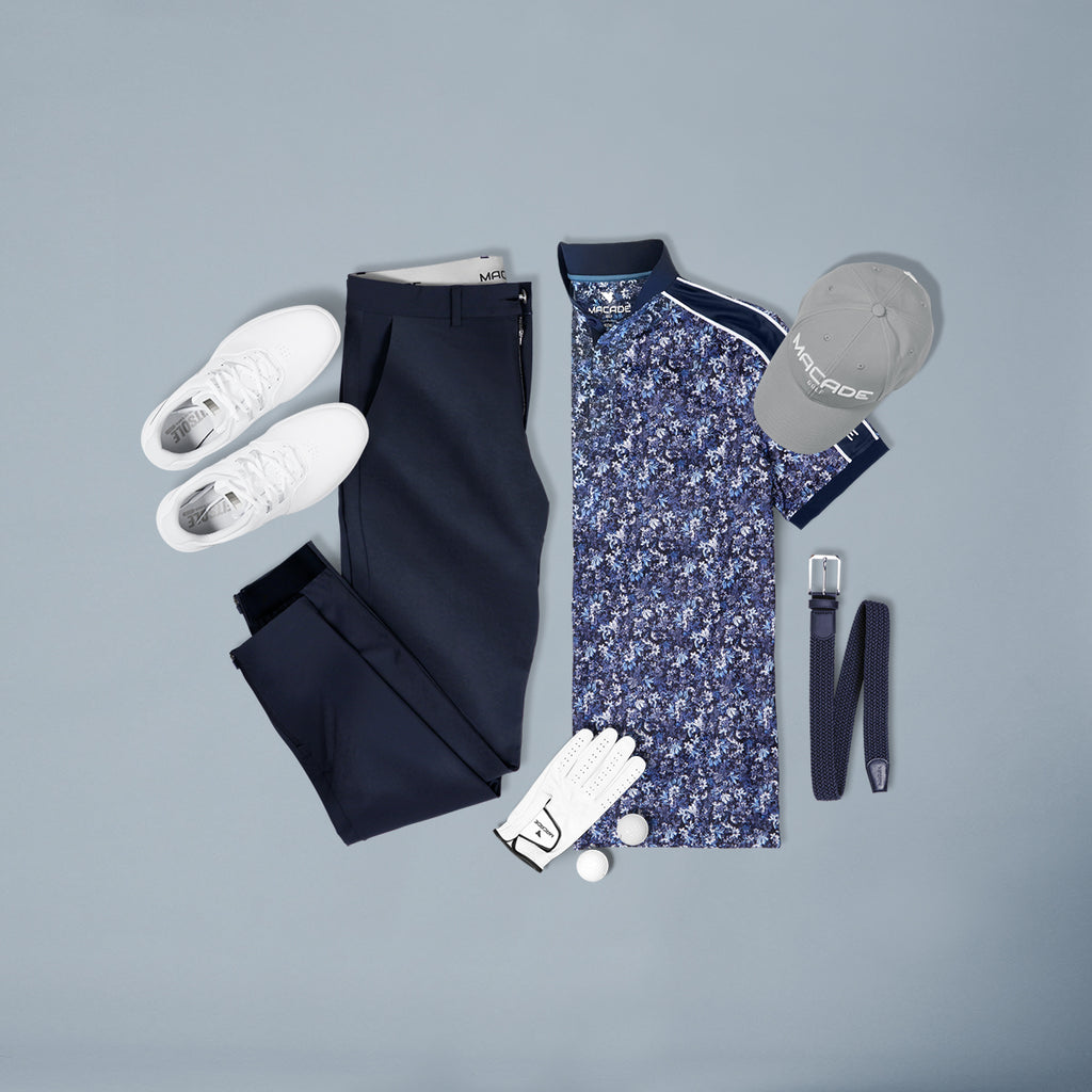 Floral polo shirt & Navy joggers