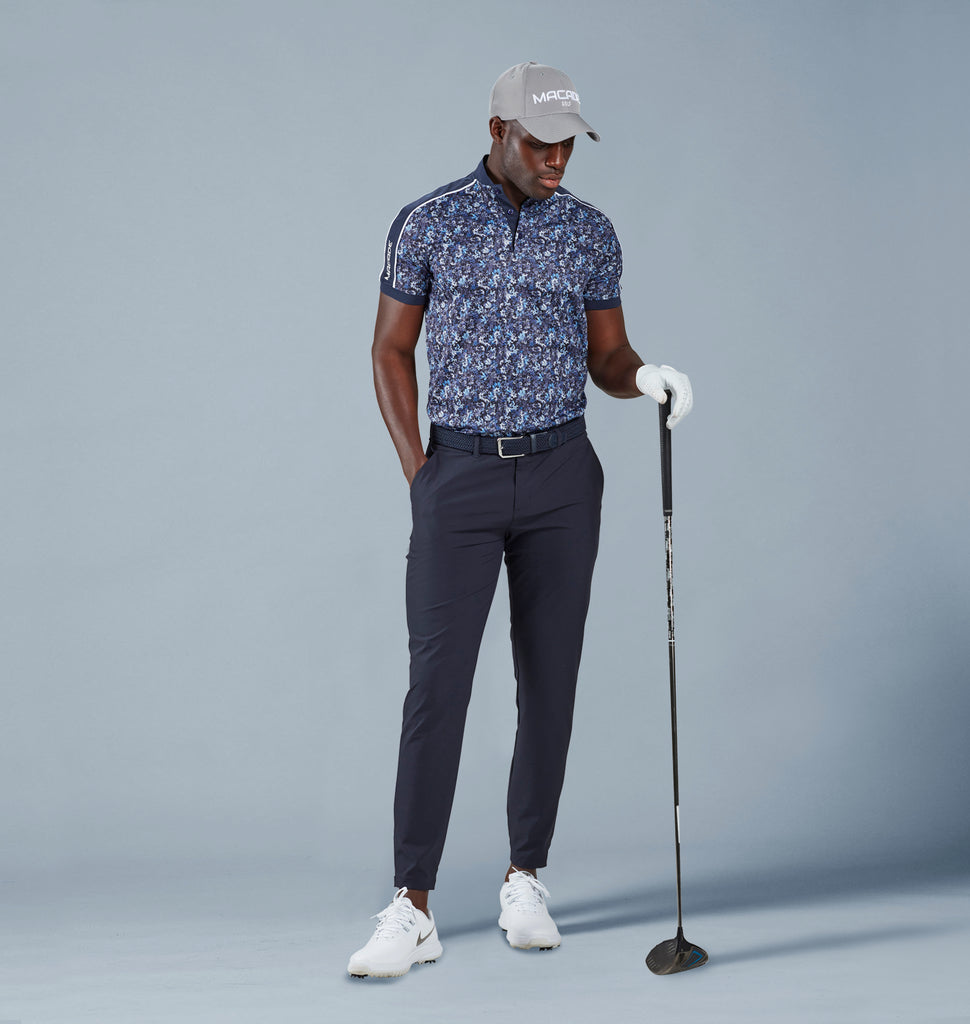 Floral polo shirt & Navy joggers model