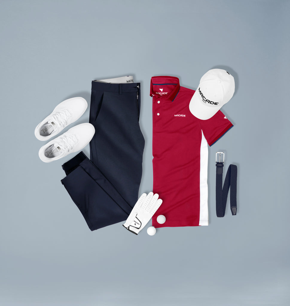 Navy joggers & Red polo shirt