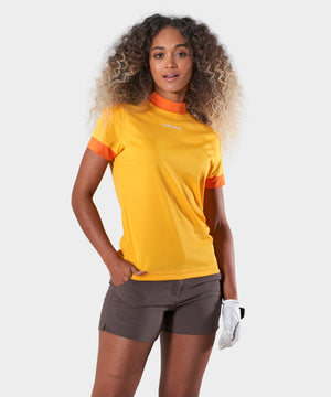 Orange Air Mock Neck Shirt