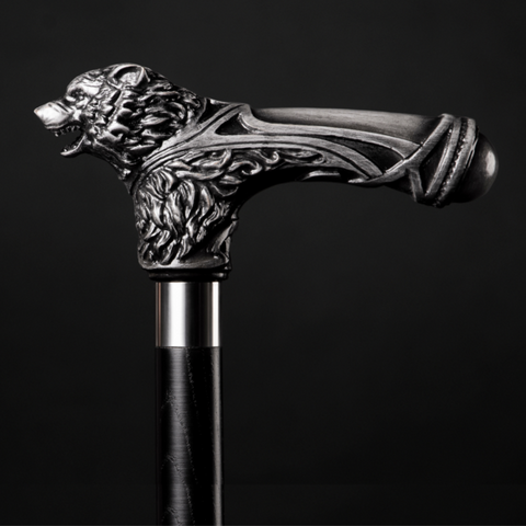 Silver wolf cane