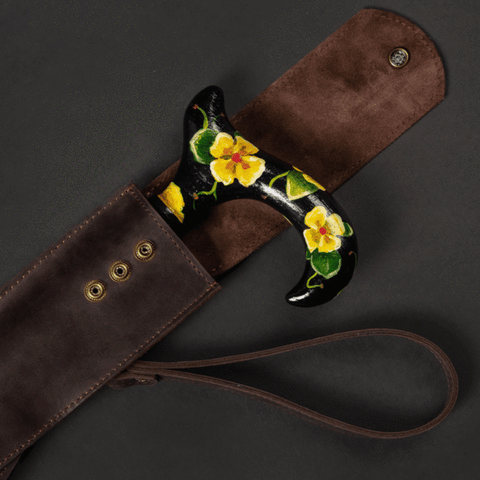 Leather case for walking cane