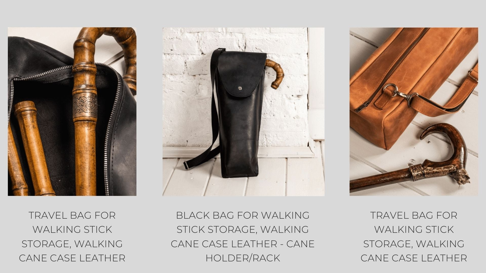 Walking cane accessories leathe bags