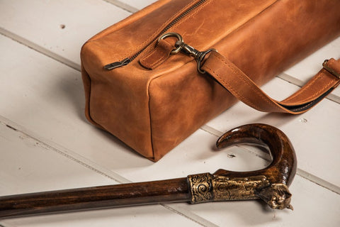 Leather bag for folding walking cane for eldery