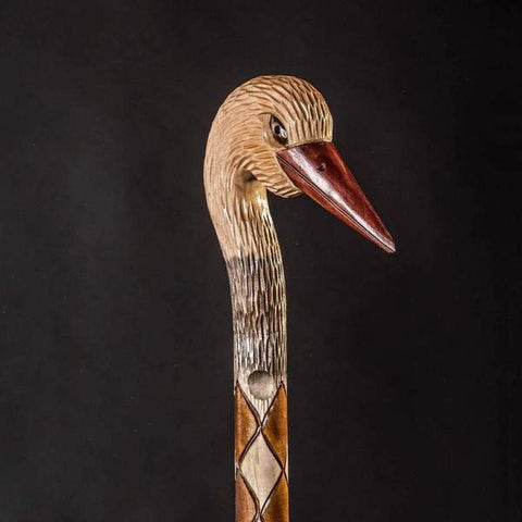 Stork Walking Cane Hand Carved