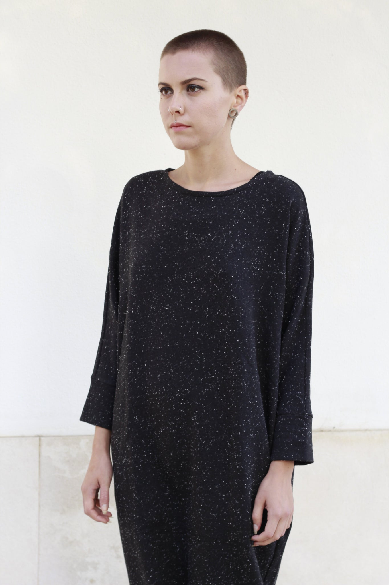 Dress Minimal Black With Small Dots