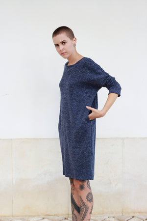 Dress Minimal in Bleu Melange with collar