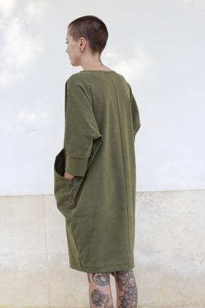 Dress in Green with Big Pockets