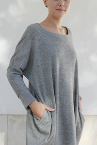 Dress Midi in Gray Melange