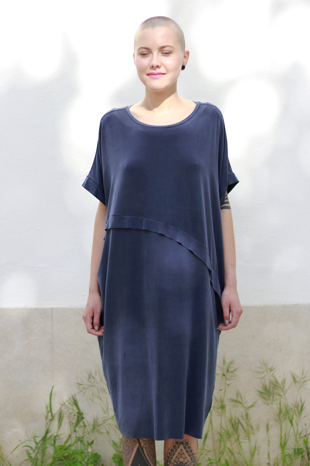 Dress With An Asymmetric Band in Blue
