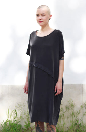 Dress With An Asymmetric Band in Grey