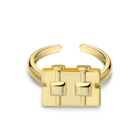 Gold Zirconia Robot Ring
