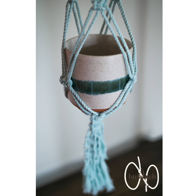 Mint Macrame with Maddy Beads Plant Holder with Pot