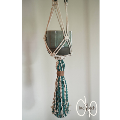 Natural Macrame with Sea Tassel Plant Holder with Pot