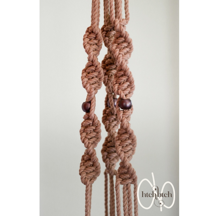 Peach Macrame with Metallic Beads Plant Holder with Pot