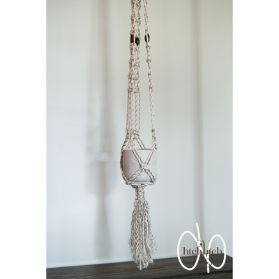 Gilded Macrame with Burnt Wood Plant Holder with Pot