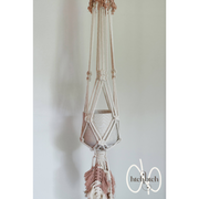 Natural/Peach with Feathered Macrame Plant Holder with Pot