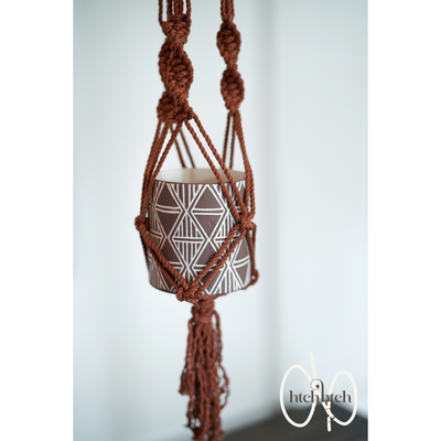 Copper Macrame with Wooden Beads Plant Holder with Pot