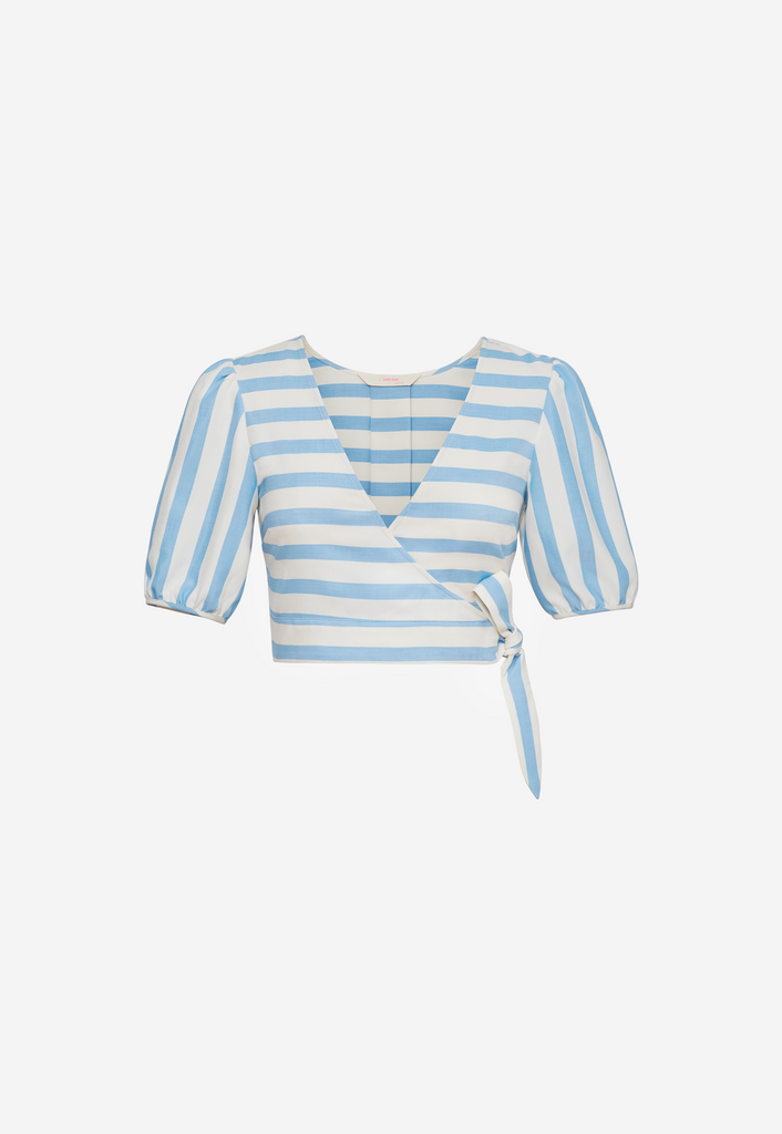 6 Shore Road Maritime Wrap Top Blue Striped Top in 0, 2, 4, 6, 8, 10, 12 -  Summer 2018 Collection