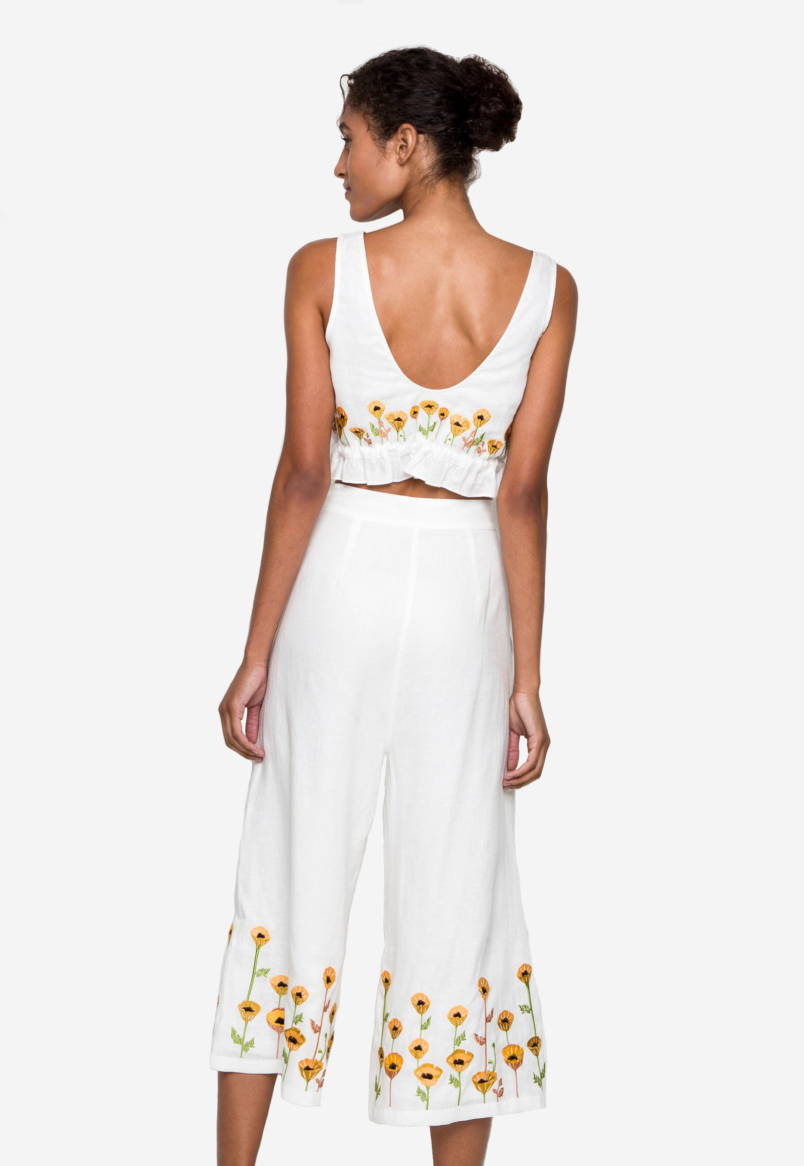 Embroidered Daisy Linen Coverup Set
