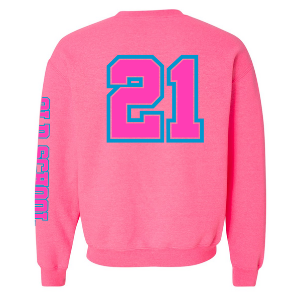 Wild 'N Out Neon Pink Old School Adult Crew Neck Sweatshirt