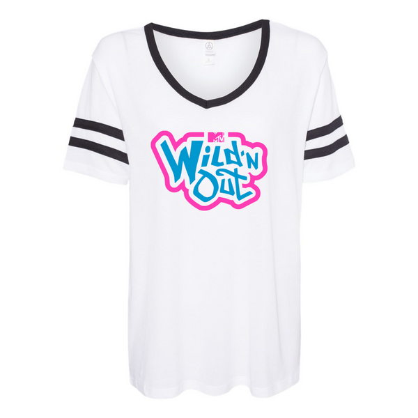 Wild 'N Out Neon Logo Women's White Varsity T-Shirt