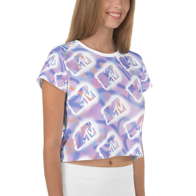 MTV Graffiti All-Over Print Crop Tee
