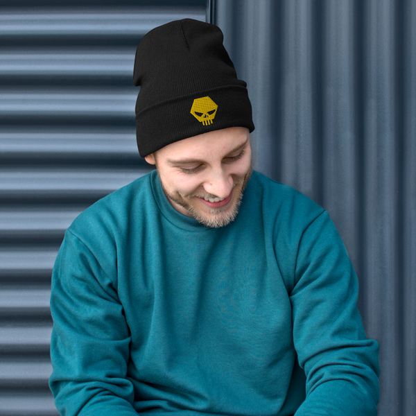 The Challenge Gold Skull Embroidered Beanie
