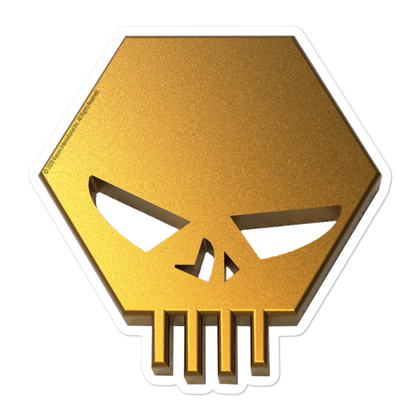 The Challenge Gold Skull Die Cut Sticker
