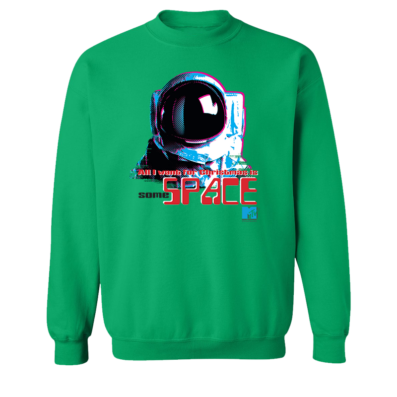 MTV Gear Christmas Space Fleece Crewneck Sweatshirt