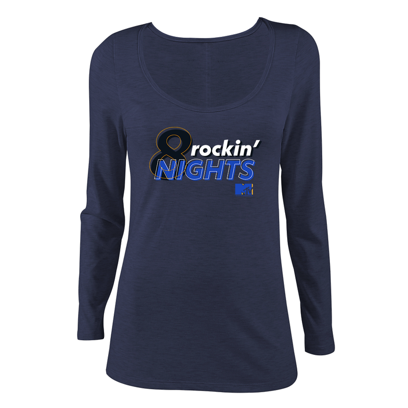 MTV Gear 8 Rockin Nights Women's Scoop Neck Long Sleeve Shirt
