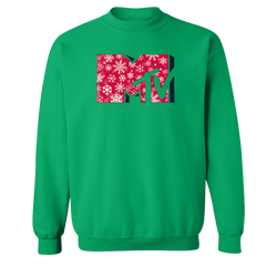 MTV Gear Snowflake Logo Fleece Crewneck Sweatshirt