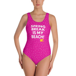 MTV Gear Spring Break is My Beach Women's All-Over Print One-Piece Swimsuit