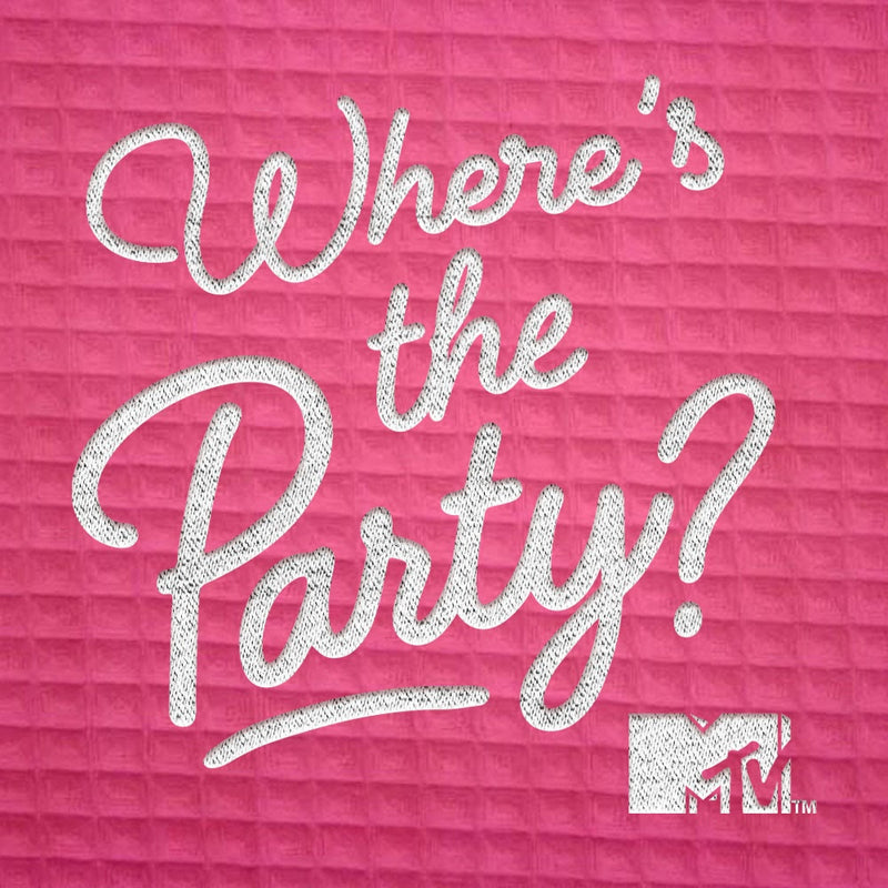 MTV Where's The Party Embroidered Waffle Robe