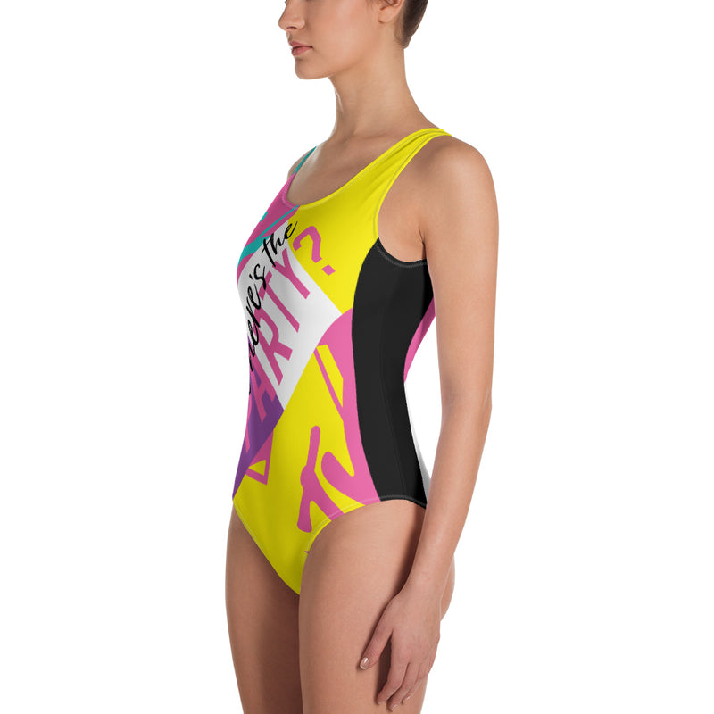 MTV Gear Spring Break Where's The Party? Women's All-Over Print One-Piece Swimsuit