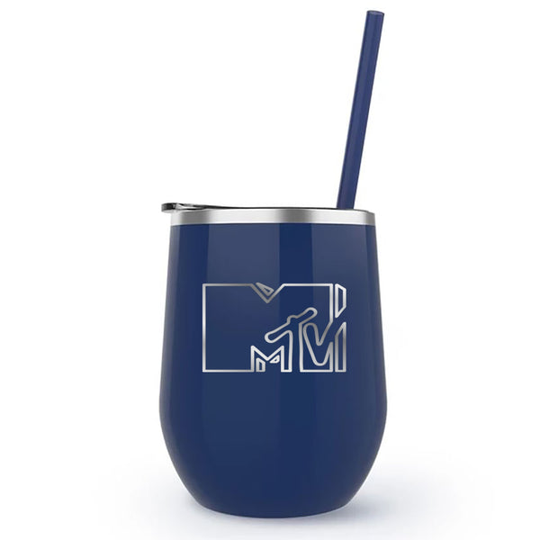 MTV Gear MTV Wine Tumbler 12 oz Stainless Steel Wine Tumbler with Straw
