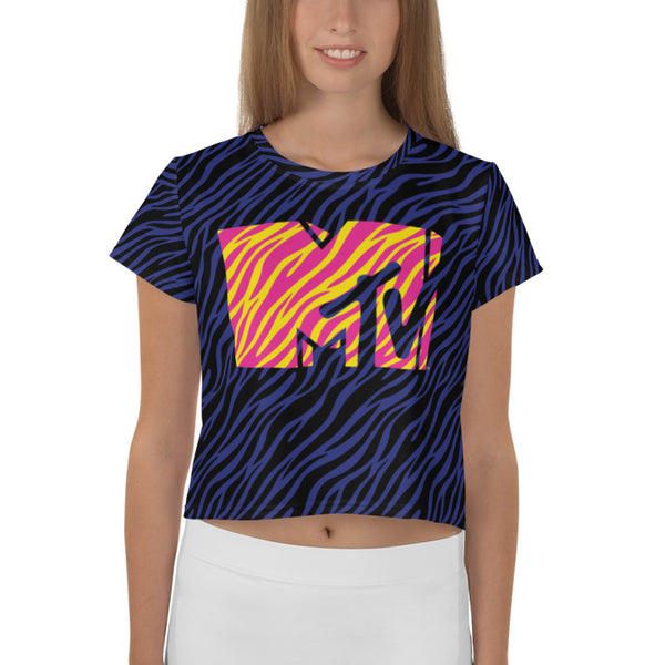 MTV Zebra Women's All-Over Print Crop T-Shirt