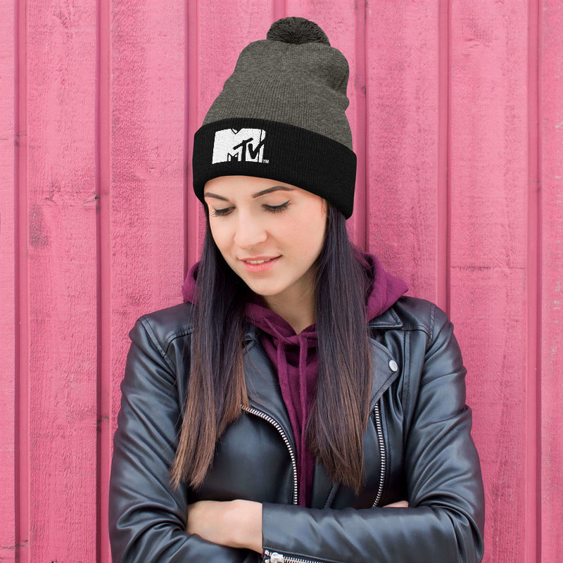 MTV Embroidered Pom Beanie
