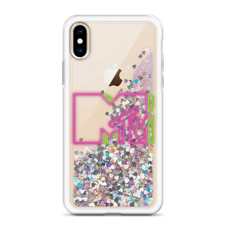 MTV Pink Neon Logo Glitter iPhone Case