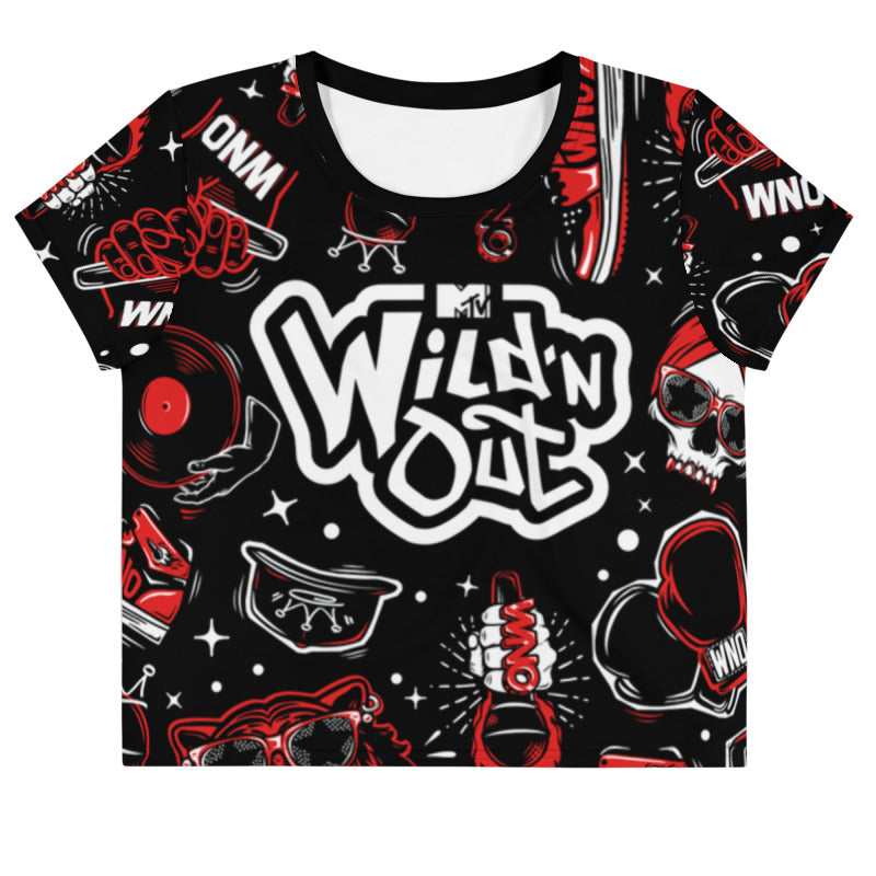 Wild 'N Out Women's All-Over Print Crop T-Shirt