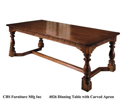 4026 DINING TABLE WITH CARVED APRON