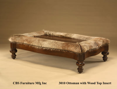 3010 OTTOMAN WITH WOOD TOP INSERT